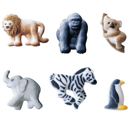 Mini Zoo Animals Asst. Sugar Decorations