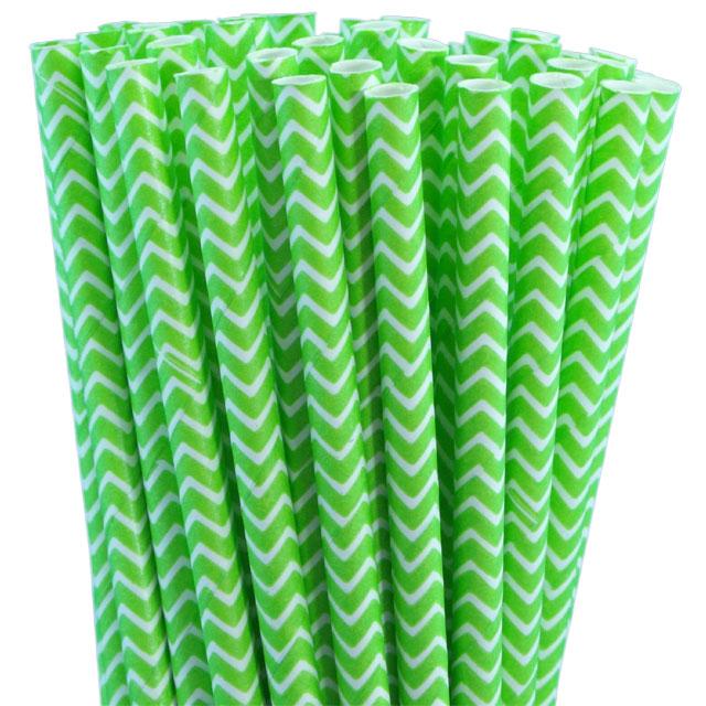 Green Striped Paper Straws Green Chevron Paper Straws