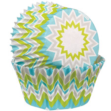 Chevron Lime Baking Cups