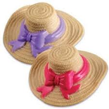 Ladies Straw Hat Cake Topper