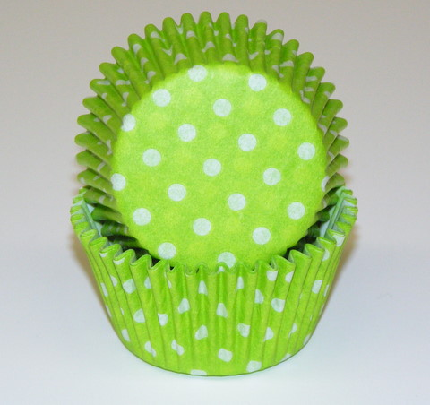Lime Green Polka Dot Baking Cup